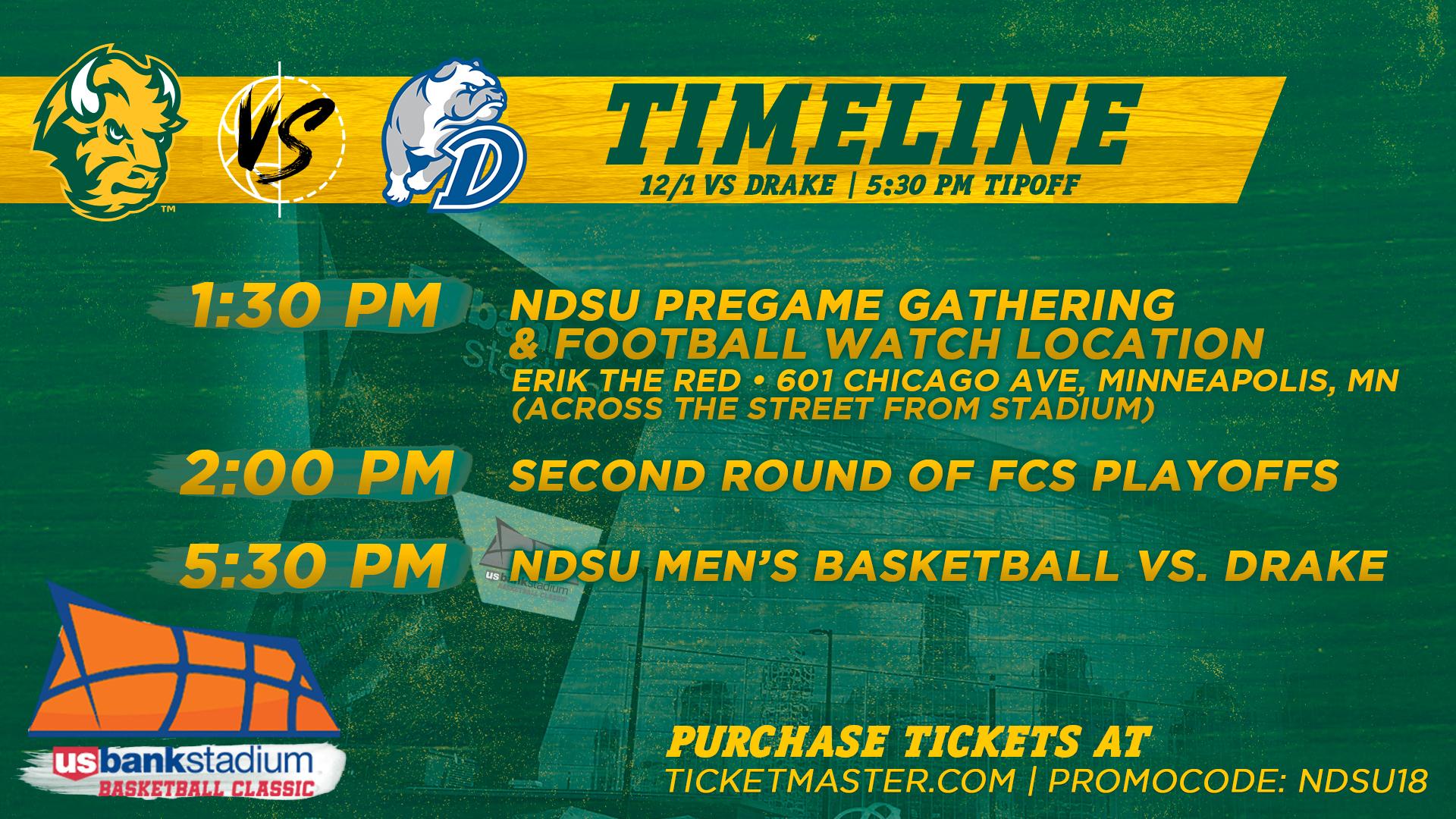NDSU Basketball Dec 1 at Us Bank Stadium