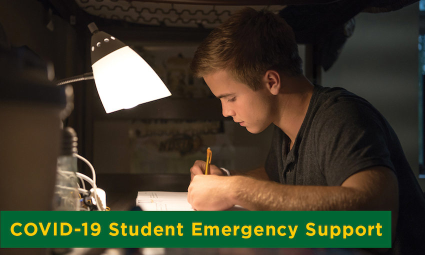 NDSU student studies in his residence hall.