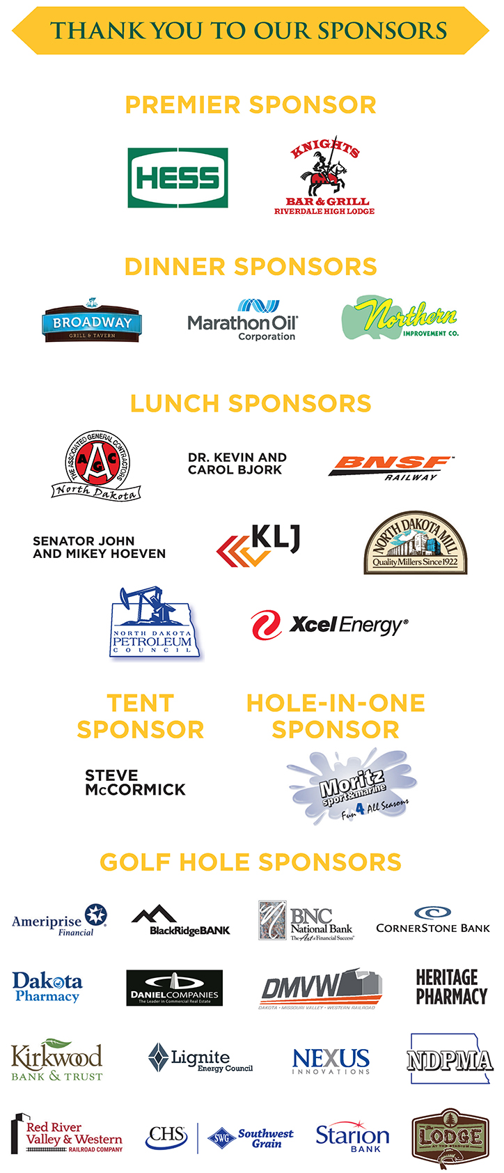 2019 Bismark Golf Sponsorship List