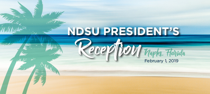 Drawing of palm trees in front of the ocean and beach with the words NDSU President's Reception Naples, Florida February 1, 2019