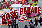 Image of Rose Parade sign on a parade float